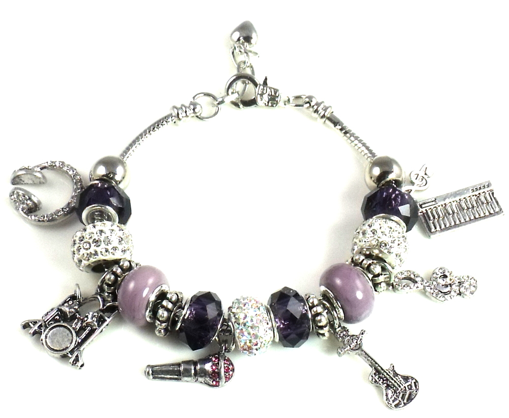 Athena Jewelry Murano Glass Bead Music Lover Charm Bracelet