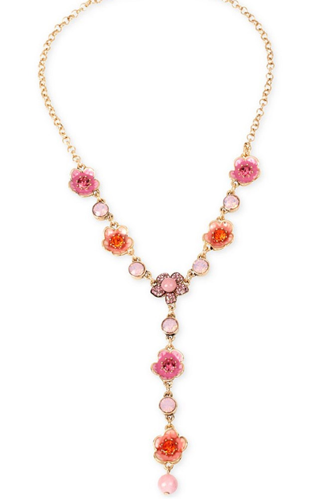 Betsey Johnson Jewelry Memoirs of Betsey Flower and Crystal Lariat Necklace