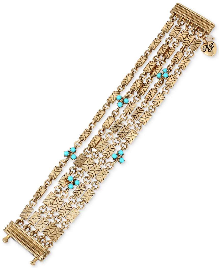 Betsey Johnson Jewelry Boho Betsey Blue Beaded Multi-Chain Bracelet
