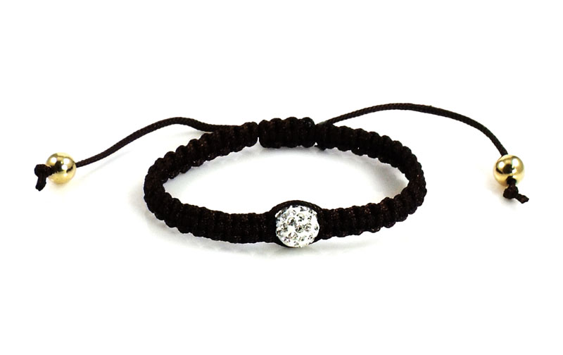 Urban Chic Jewelry Pave Ball Braided Bracelet Espresso
