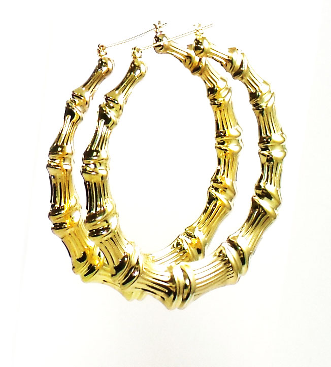 Urban Chic Jewelry Large Bamboo Hoops Gold