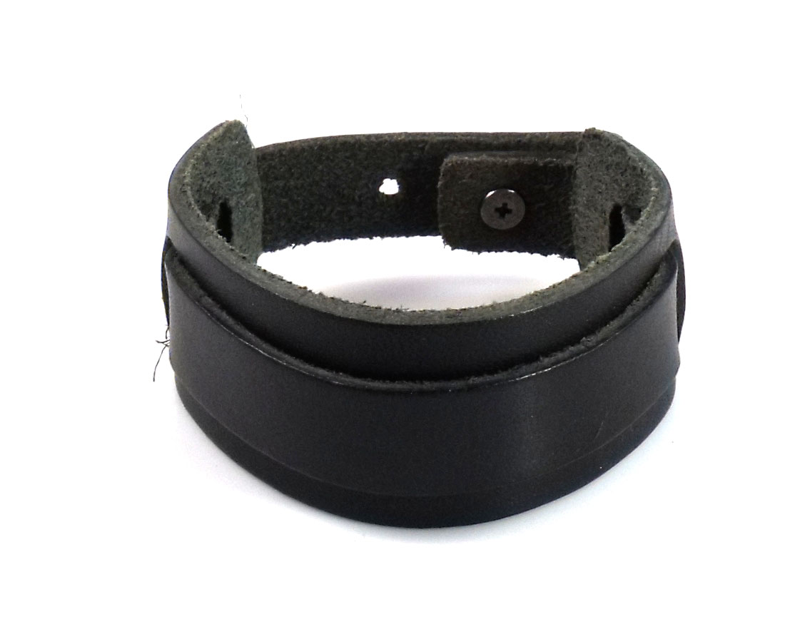 Punk Chic Jewelry Black Leather Strap Bracelet