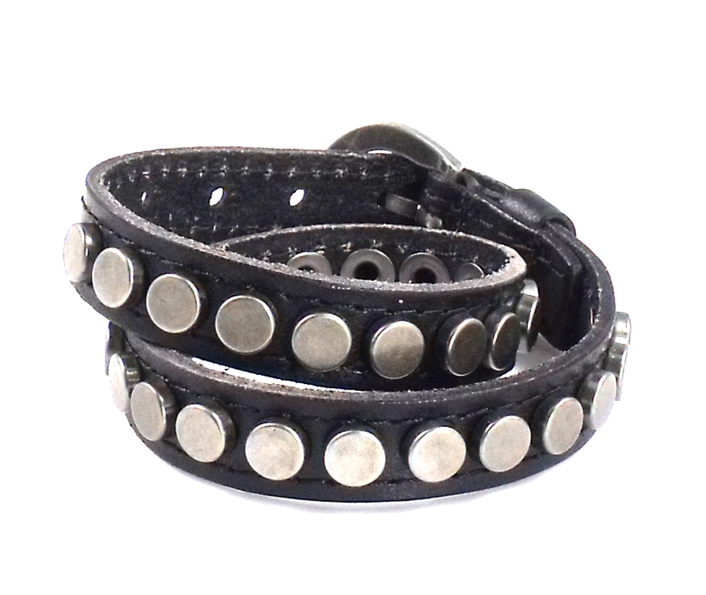 Punk Chic Jewelry Long Black  Leather Buckle Bracelet