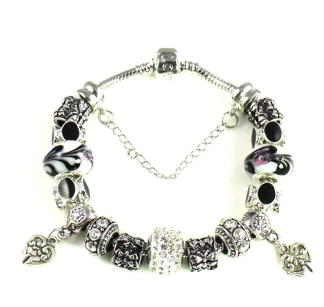 Athena Jewelry Murano Glass Bead Black White Charm Bracelet