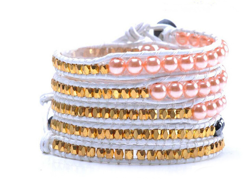 Lin Suu Jewelry White Leather Pink Pearl Long Wrap Bracelet