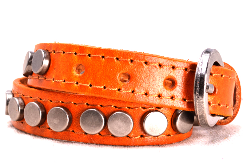 Punk Chic Jewelry Long Orange Leather Buckle Bracelet