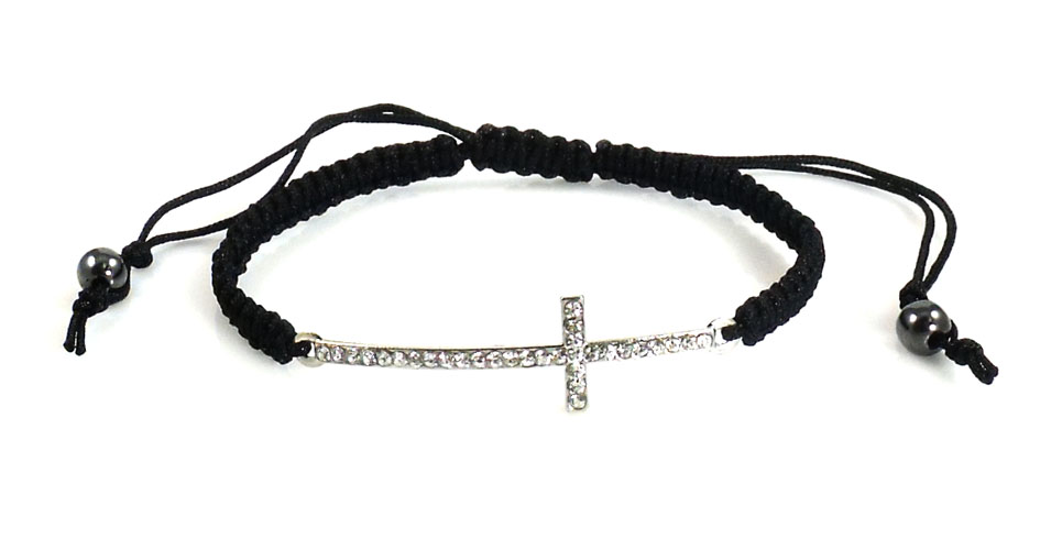 Urban Chic Jewelry Pave Cross Braided Bracelet Black