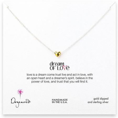 Dogeared Jewelry Dream of Love necklace, gold heart silver chain