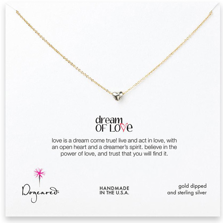 Dogeared Jewelry Dream of Love necklace, silver heart gold chain