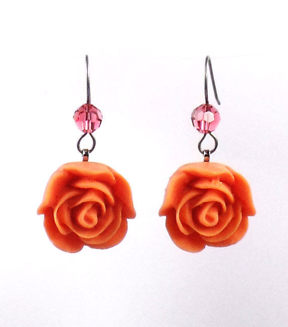 "Tarina Tarantino Jewelry ""Parade"" Orange Rose Drop Earrings"