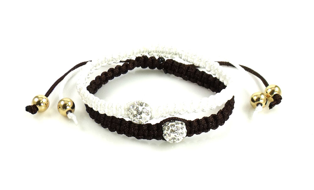 Urban Chic Jewelry Pave Ball Braided Friendship Bracelets Espres