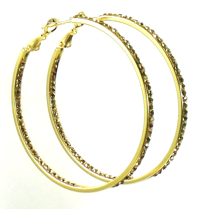 Lin Suu Jewelry Goldtone Crystal Hoop Earrings Large 2 inch