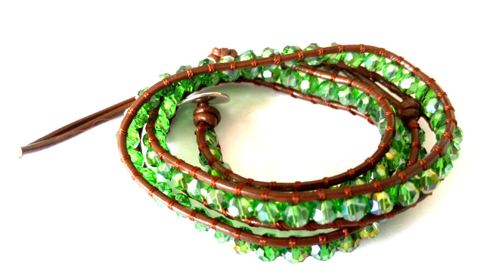 Lin Suu Jewelry Brown Leather Three Wrap Bracelet Green Beads