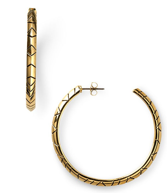 House of Harlow 1960 House of Harlow 1960 Tribal Hoop Earrings Goldtone