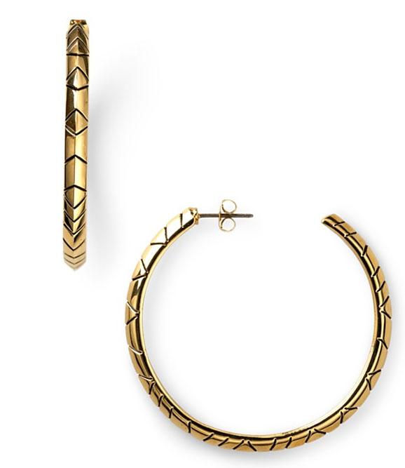 House Of Harlow 1960 Tribal Hoop Earrings Goldtone