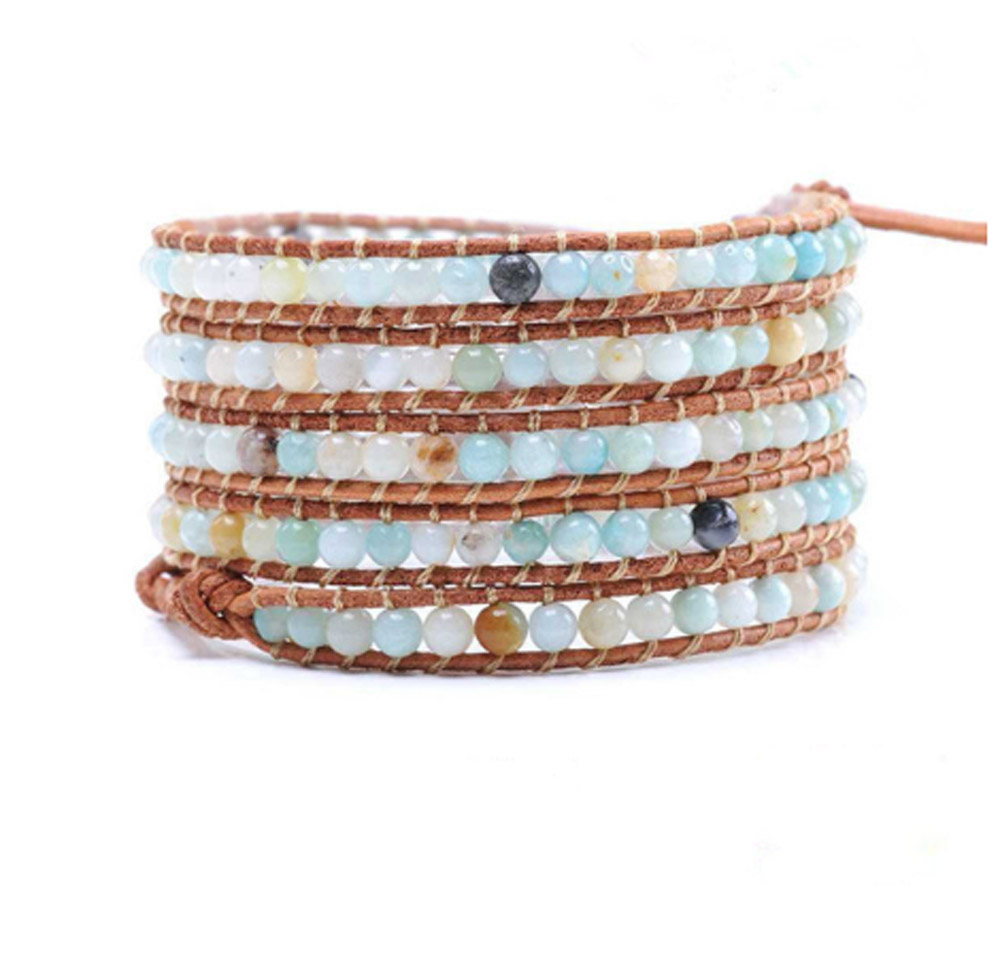Lin Suu Jewelry Brown Leather Wrap Bracelet Light Blue and Multi