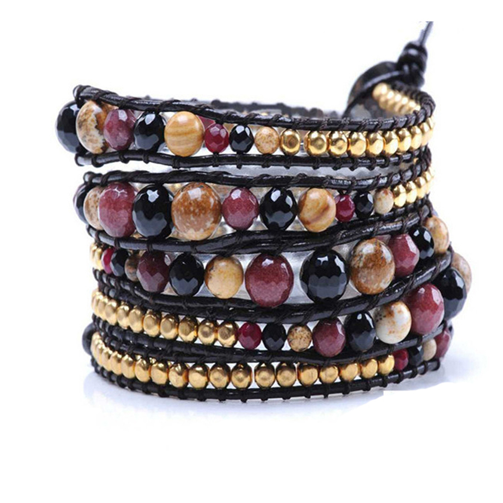 Lin Suu Jewelry Leather Multicolor With Goldtone Beads Long Wrap
