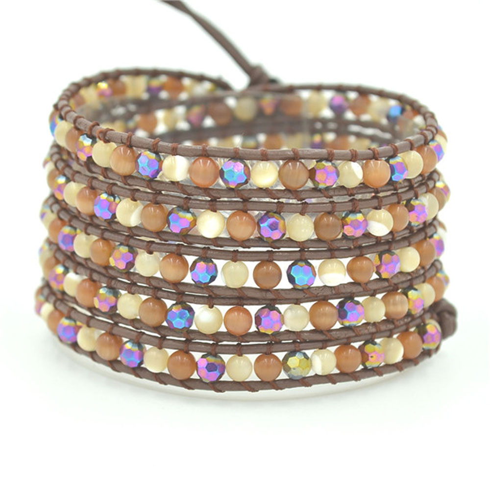 Lin Suu Jewelry Brown Leather Wrap Bracelet Multicolor Beads