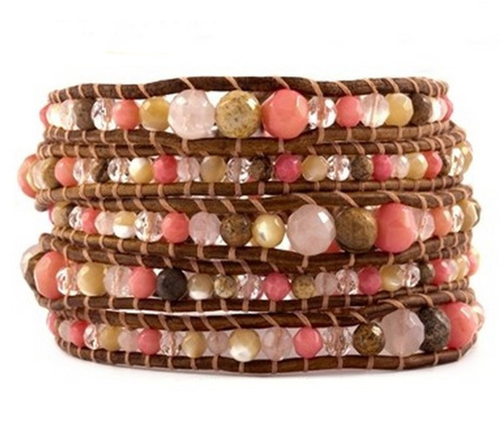 Lin Suu Jewelry Leather Multicolor With Pink Beads Long Wrap Bra
