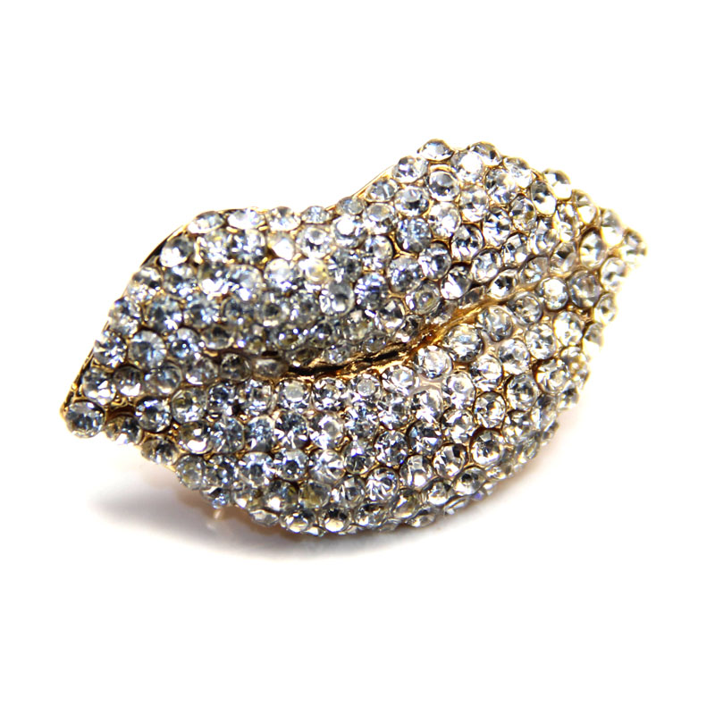 Urban Chic Jewelry Crystal Lip Ring Gold Adjustable