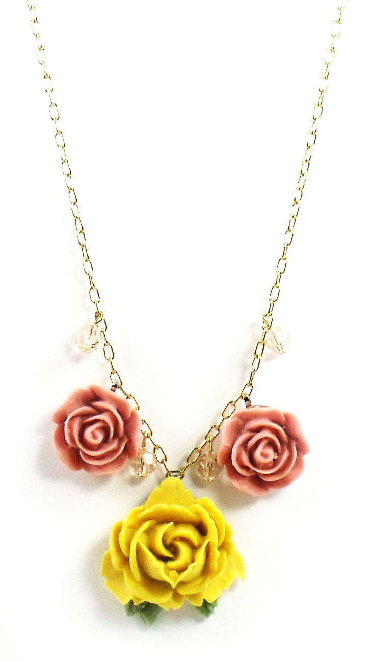 "Tarina Tarantino Jewelry ""Parade"" Three Row Rose Necklace Yellow"