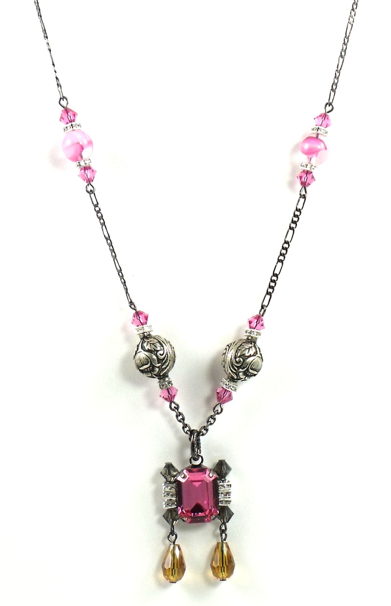 "Tarina Tarantino Jewelry ""Darling"" Pink Crystal Long Beaded Neck"