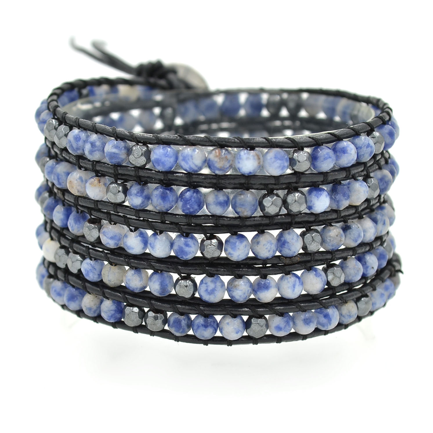 Lin Suu Jewelry Black Leather Wrap Bracelet Blue and Multicolor