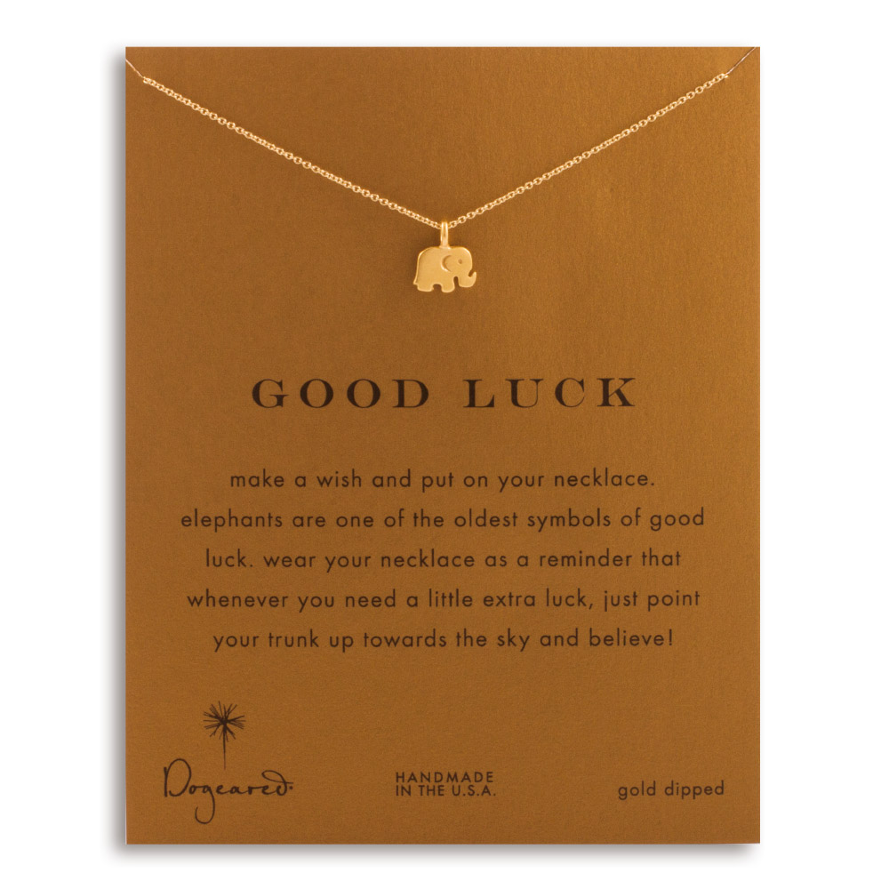 Dogeared Dogeared Jewelry Gold Dip Good Luck Elephant Reminder