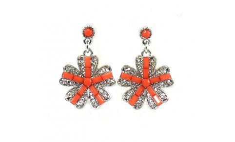 Betsey Johnson Jewelry Iconic Coral Glam Flower Earrings