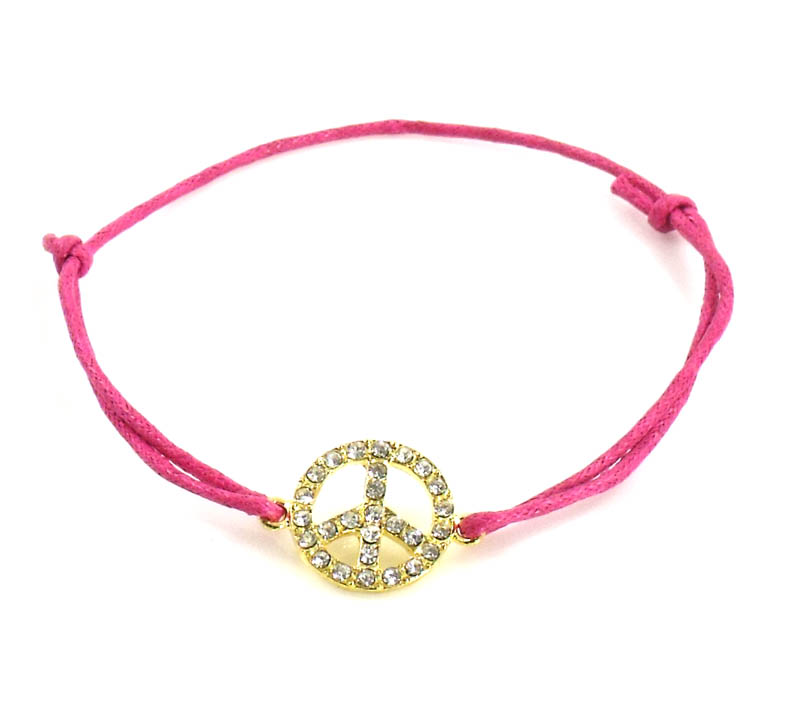 Urban Chic Jewelry Pink Peace Sign Cord Bracelet