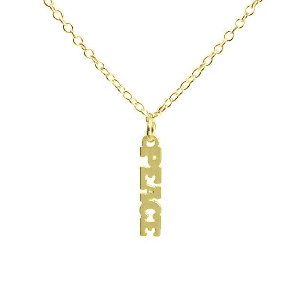 "Kris Nations Jewelry ""Peace"" Pendant Necklace Gold"