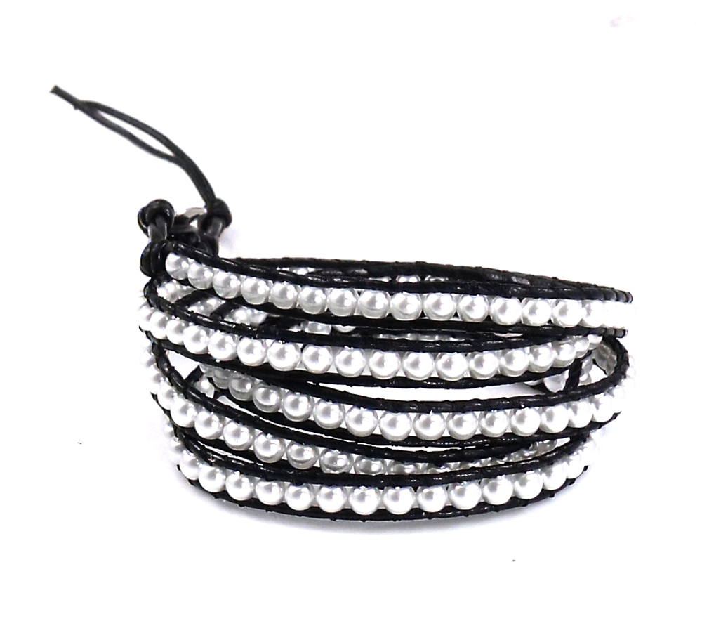 Lin Suu Jewelry Black Leather Wrap Bracelet Imitation Pearl Bead