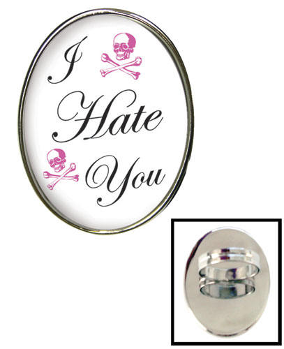 Tarina Tarantino Jewelry I Hate You Small Cameo Ring