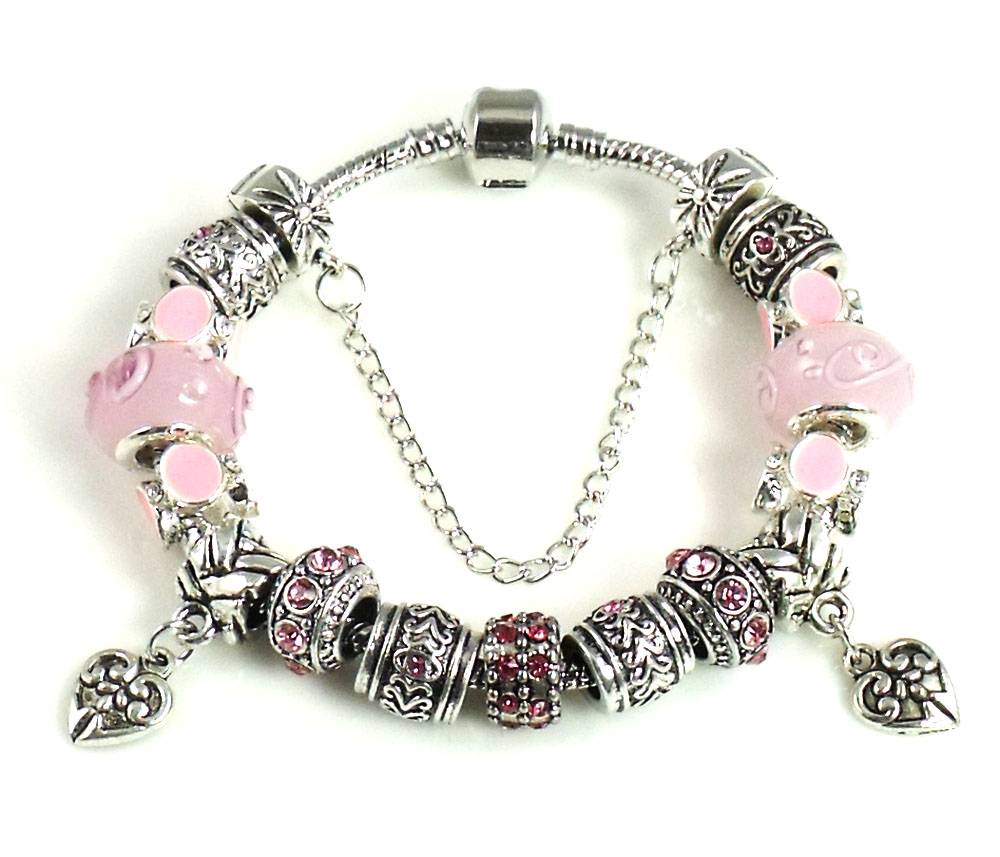 Athena Jewelry Murano Glass Bead Double Heart Charm Bracelet