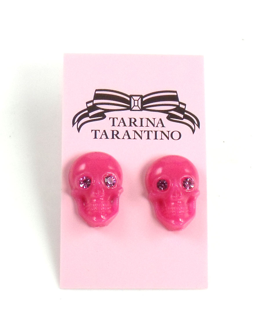 Tarina Tarantino Jewelry LUCITE SKULL post earrings Pink
