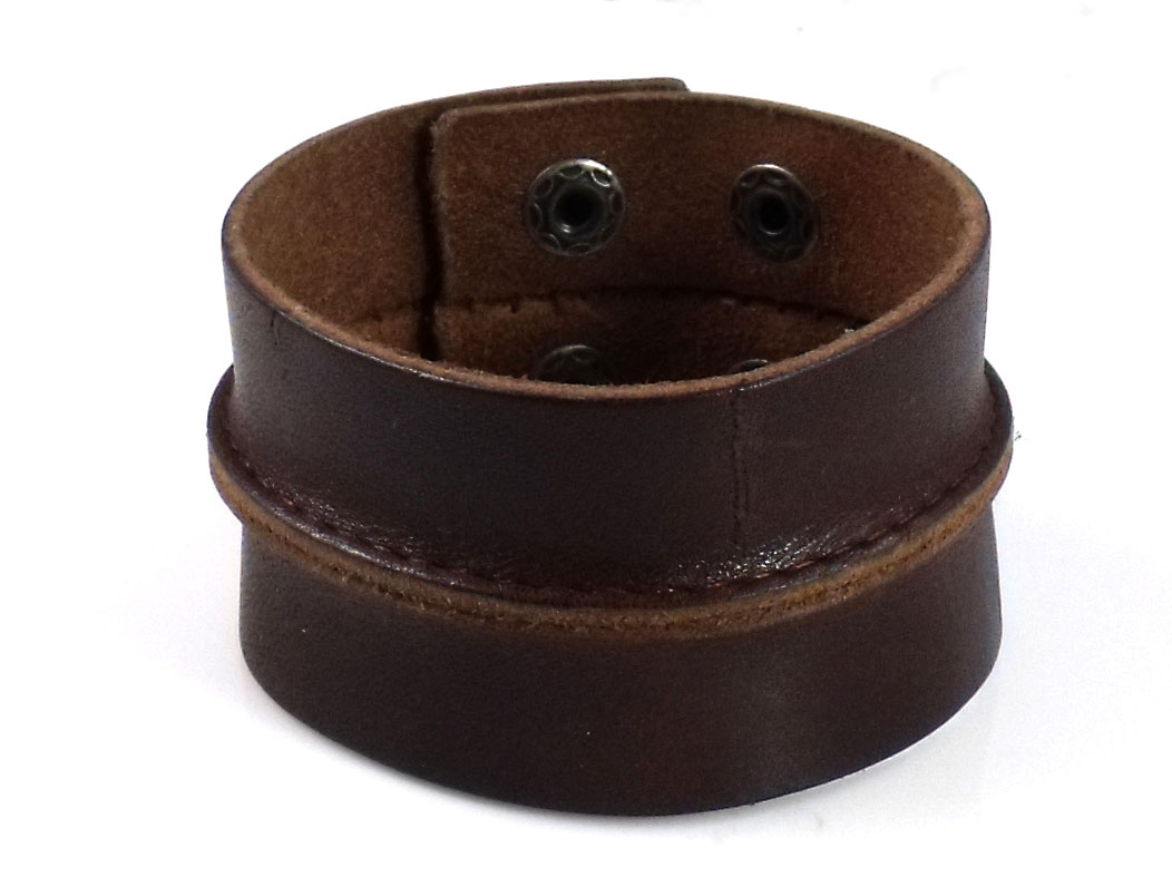 Punk Chic Jewelry Wide Brown Leather Rib Bracelet