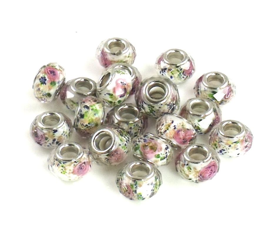 Athena Jewelry Pink Rose Beads 10 Fits Pandora, Biagi and more