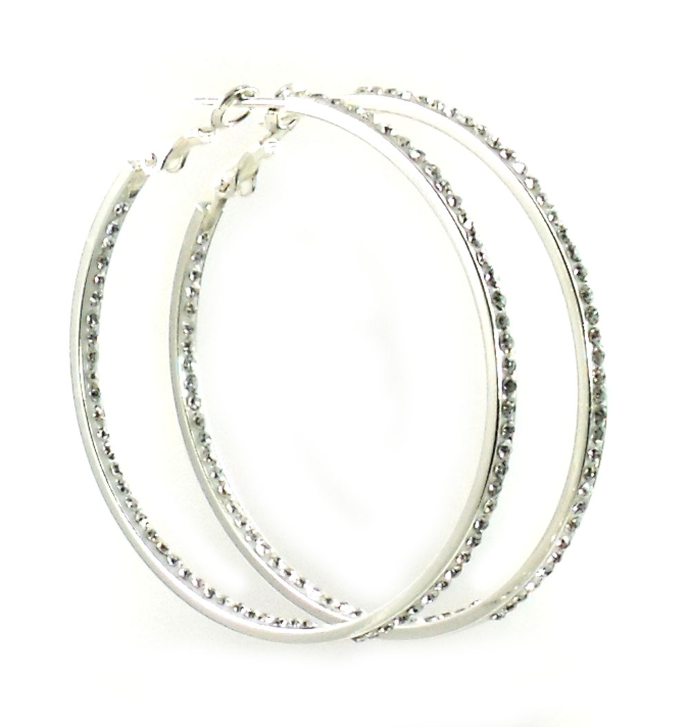 Lin Suu Jewelry Silvertone Crystal Hoop Earrings Large 2 inch