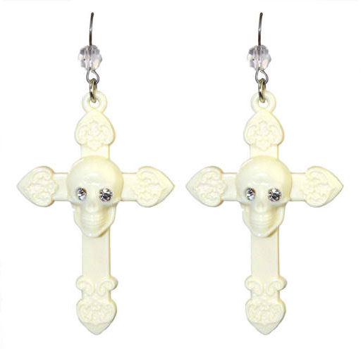 Tarina Tarantino Jewelry SKULL AND CROSS DROP EARRINGS White
