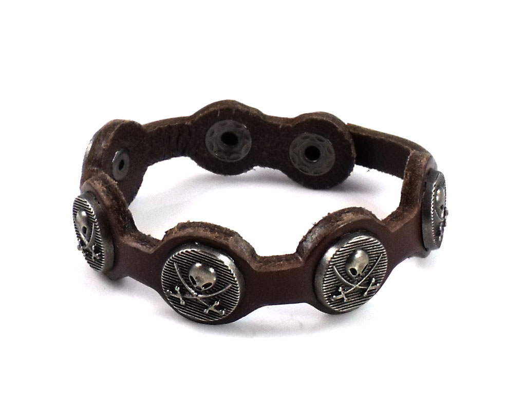 Punk Chic Jewelry Skull Charm Brown Leather Bracelet