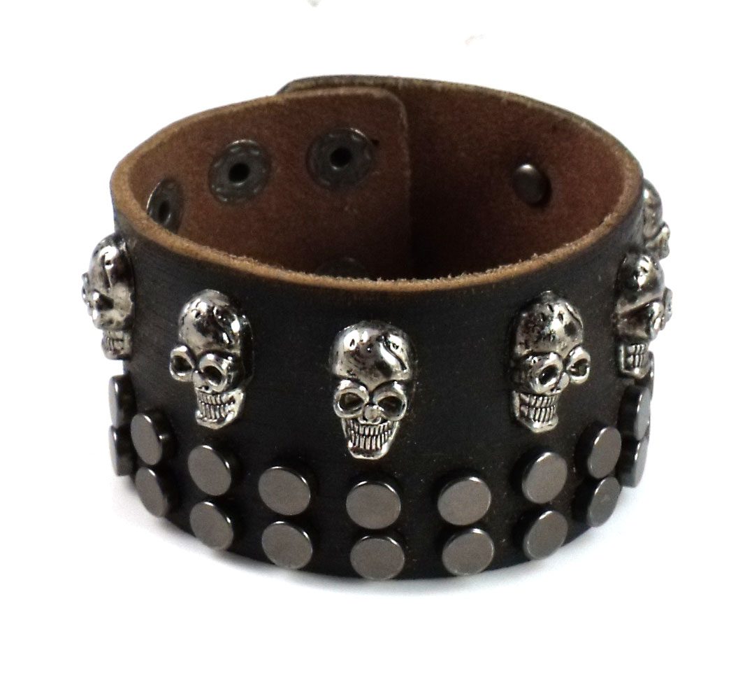 Punk Chic Jewelry Wide Brown Leather Skull Stud Bracelet