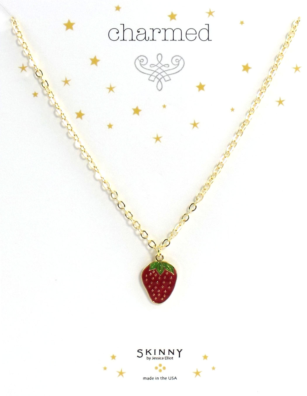 Skinny Jewelry Strawberry Charm Necklace Gold, by Jessica Elliot
