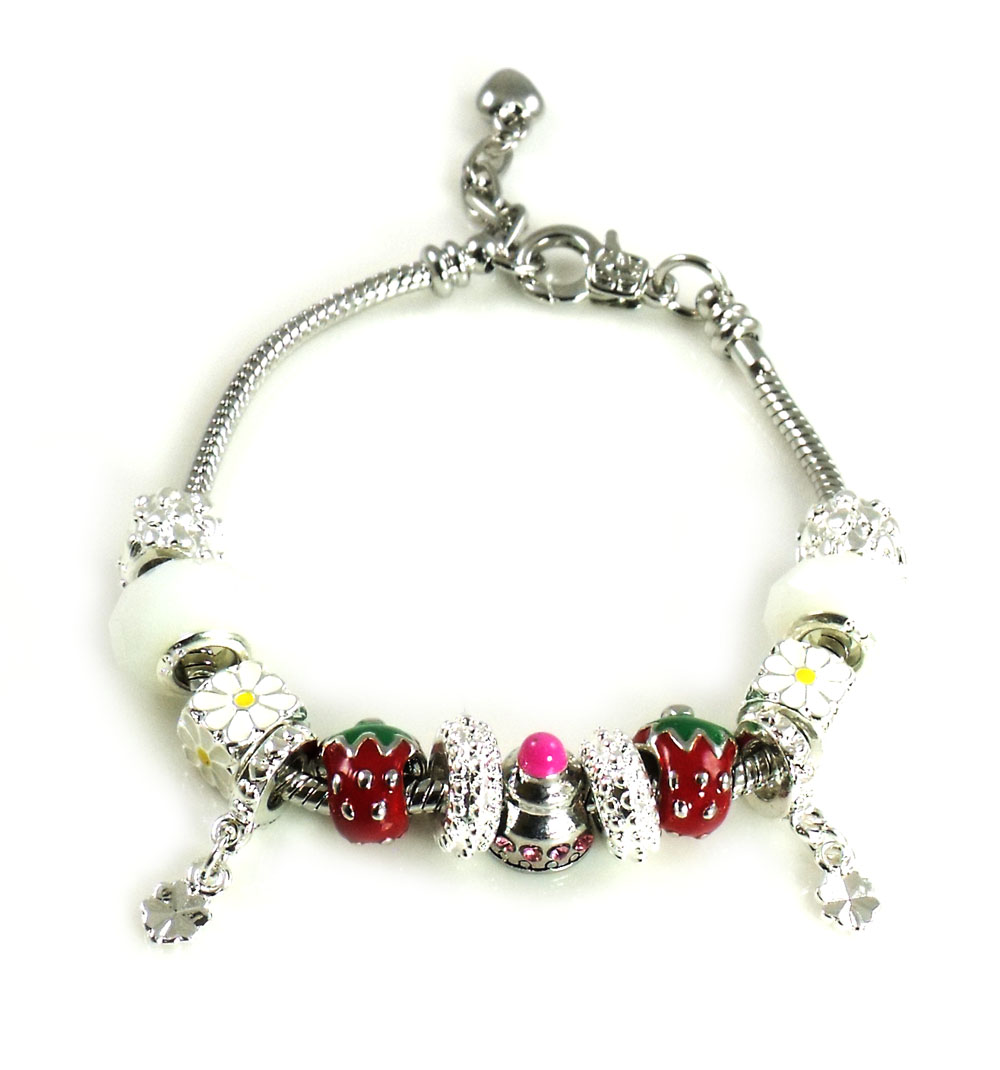 Athena Jewelry Murano Glass Bead Strawberry Snake Chain Bracelet
