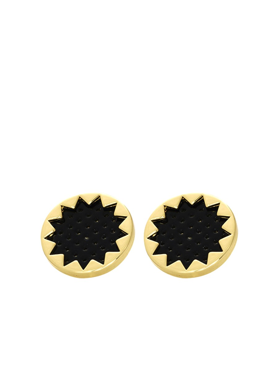 House of Harlow SUNBURST BUTTON EARRINGS Black