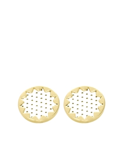 House of Harlow SUNBURST BUTTON EARRINGS White