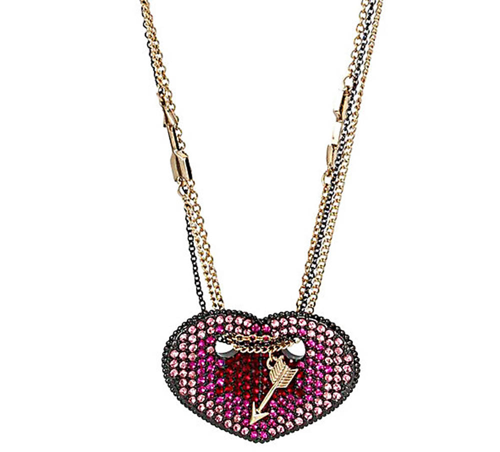 Betsey Johnson Jewelry HEARTS AND ARROWS FOLDED HEART PENDANT