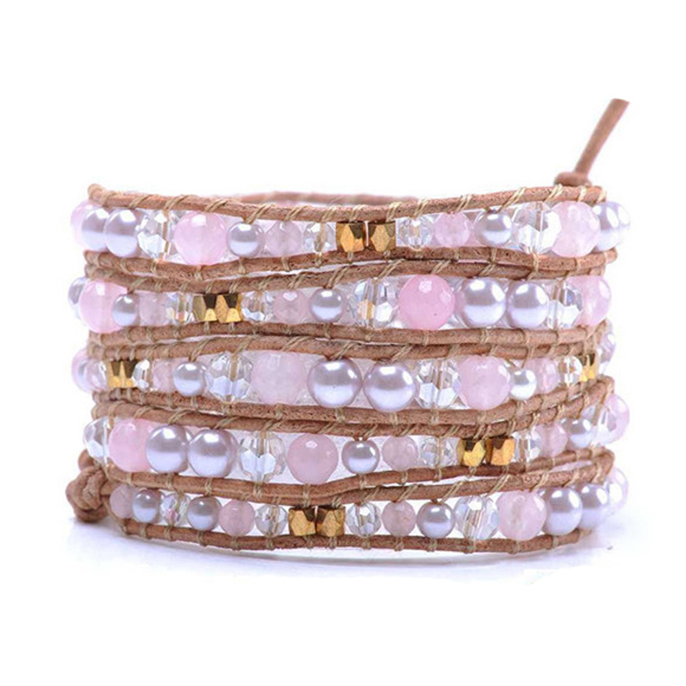 Lin Suu Jewelry Leather Pink Pearl Long Wrap Bracelet