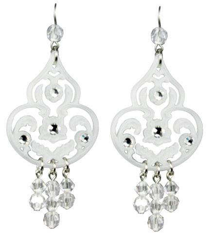 Tarina Tarantino Jewelry Classic Lucite Dangle Earrings White