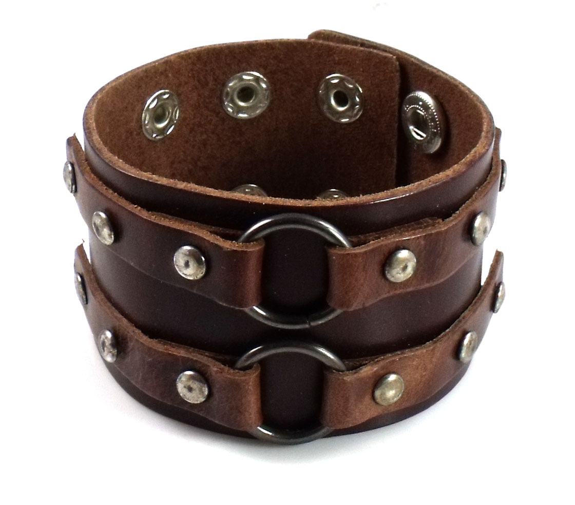 Punk Chic Jewelry Wide Brown Leather Stud Bracelet