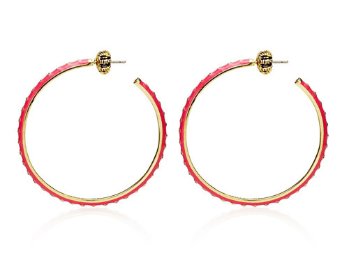 Juicy Couture Jewelry Pink Enamel And Rhinestone Medium Hoops Go